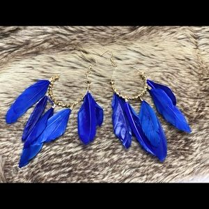 Cobalt blue gold hoop earrings with feathers